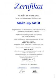 Zertifikat Make-up Artist