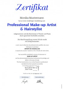 Zertifikat Professional Make-up Artist + Hairstylist